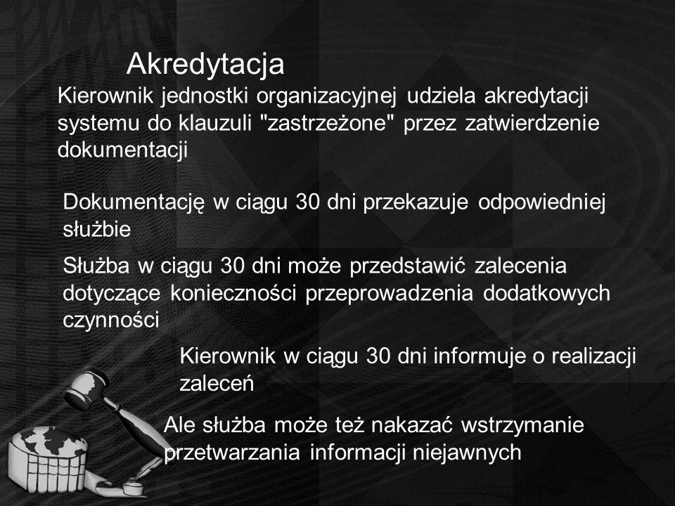 Akredytacja Kierownik jednostki organizacyjnej udziela akredytacji systemu do klauzuli zastrzeżone przez zatwierdzenie dokumentacji.