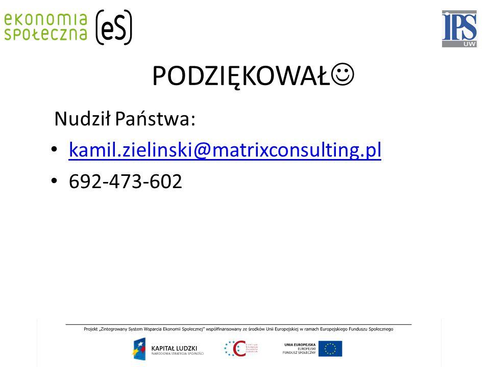 PODZIĘKOWAŁ Nudził Państwa: kamil.zielinski@matrixconsulting.pl