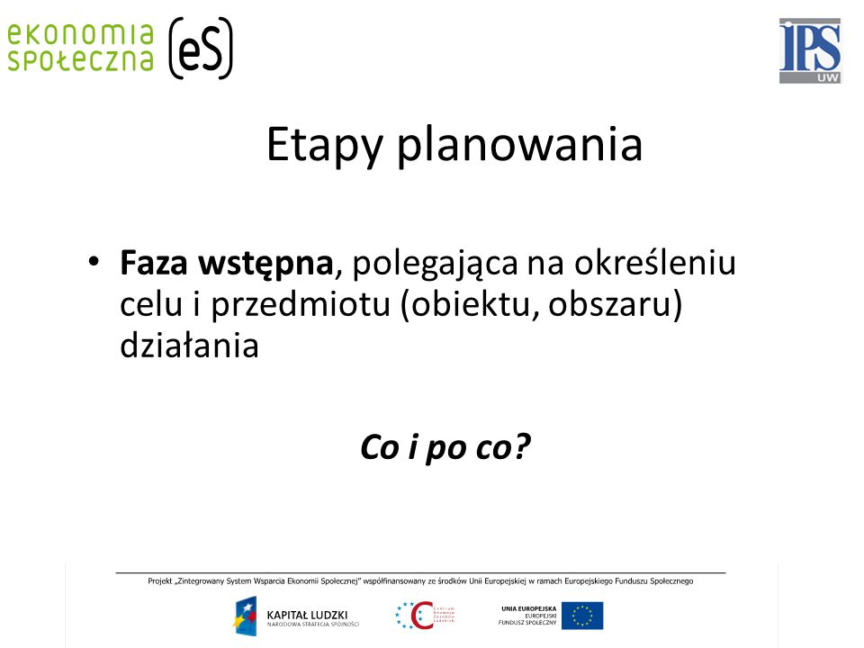 Etapy planowania Faza wstępna, polegająca na określeniu celu i przedmiotu (obiektu, obszaru) działania.