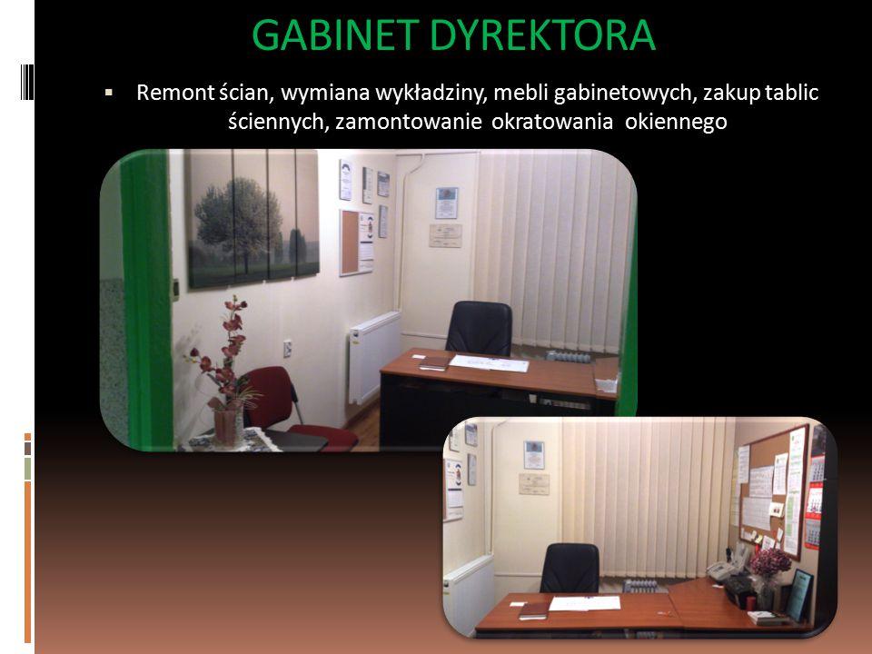GABINET DYREKTORA Remont ścian, wymiana wykładziny, mebli gabinetowych, zakup tablic ściennych, zamontowanie okratowania okiennego.