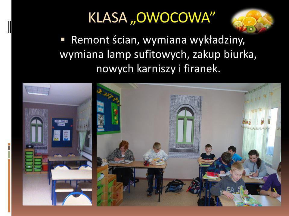 """KLASA """"OWOCOWA Remont ścian, wymiana wykładziny, wymiana lamp sufitowych, zakup biurka, nowych karniszy i firanek."""