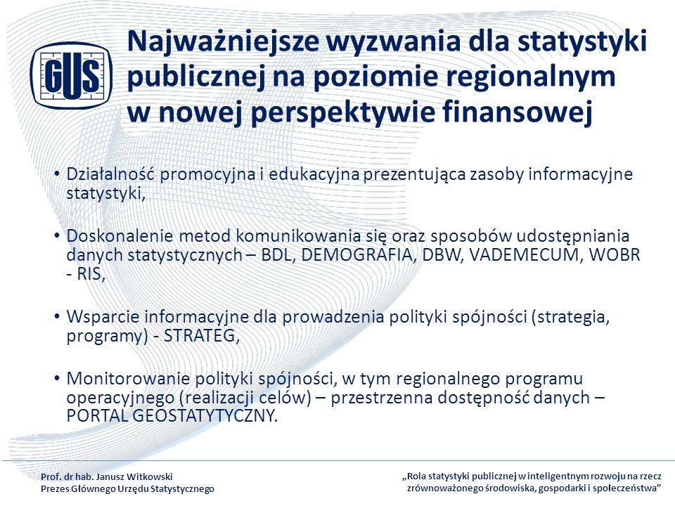 Najważniejsze wyzwania dla statystyki publicznej na poziomie regionalnym w nowej perspektywie finansowej