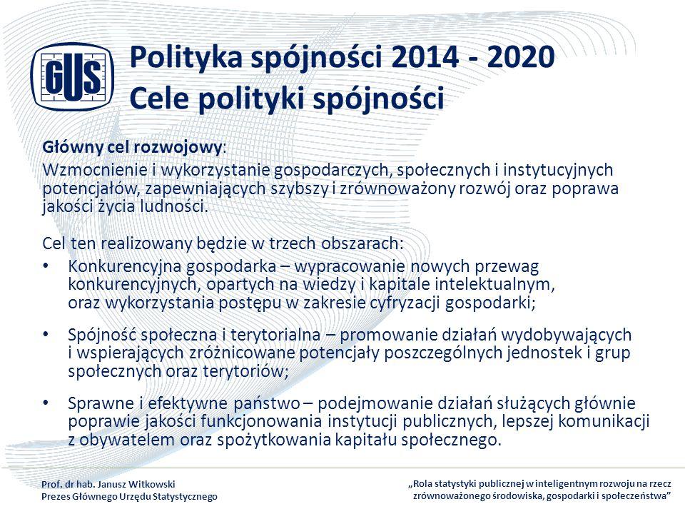 Polityka spójności 2014 - 2020 Cele polityki spójności