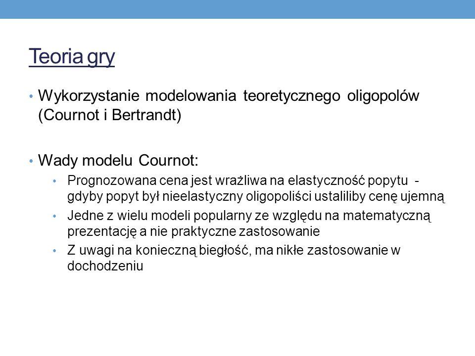 Teoria gry Wykorzystanie modelowania teoretycznego oligopolów (Cournot i Bertrandt) Wady modelu Cournot: