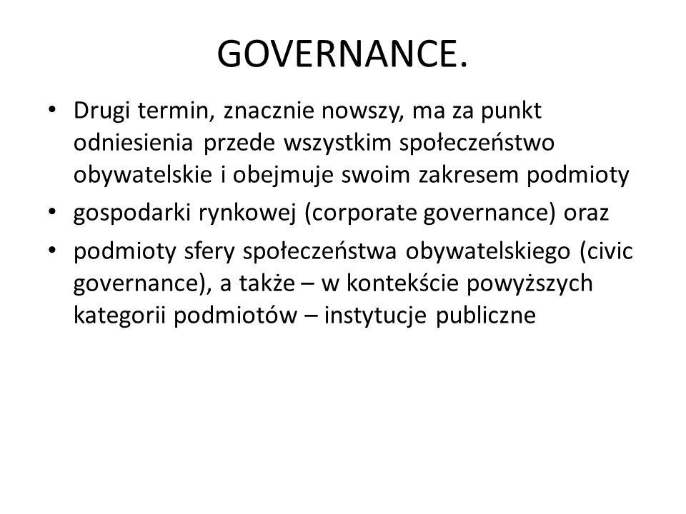GOVERNANCE. Drugi termin, znacznie nowszy, ma za punkt odniesienia przede wszystkim społeczeństwo obywatelskie i obejmuje swoim zakresem podmioty.