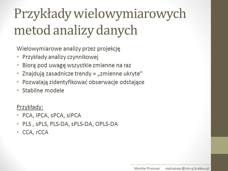 Przykłady wielowymiarowych metod analizy danych