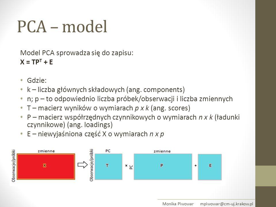 PCA – model Model PCA sprowadza się do zapisu: X = TPT + E Gdzie: