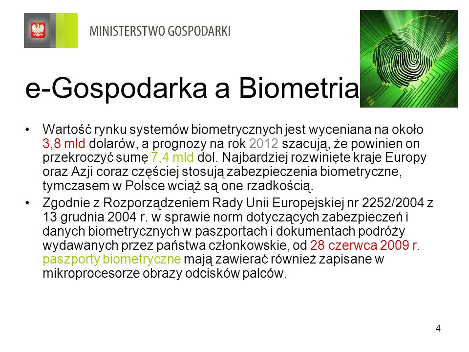 e-Gospodarka a Biometria