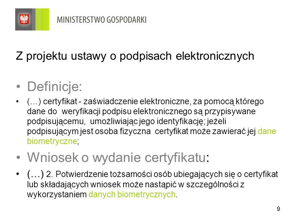 Z projektu ustawy o podpisach elektronicznych