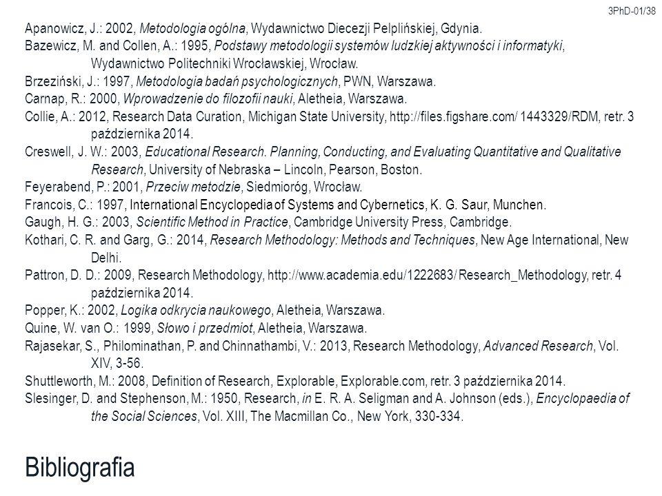 3PhD-01/38 Apanowicz, J.: 2002, Metodologia ogólna, Wydawnictwo Diecezji Pelplińskiej, Gdynia.
