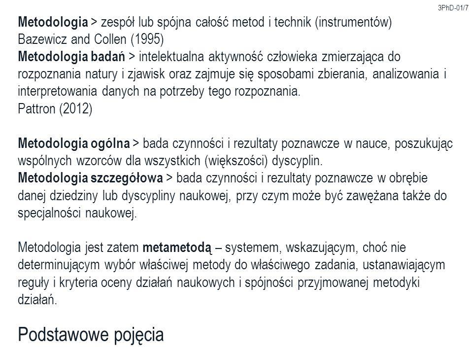 3PhD-01/7 Metodologia > zespół lub spójna całość metod i technik (instrumentów) Bazewicz and Collen (1995)