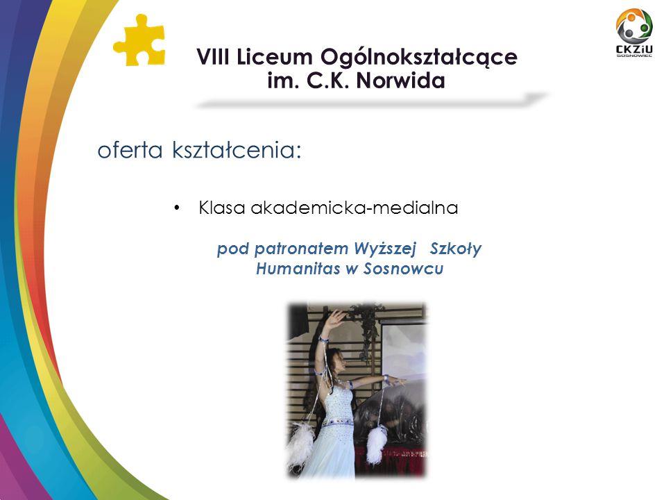oferta kształcenia: VIII Liceum Ogólnokształcące im. C.K. Norwida