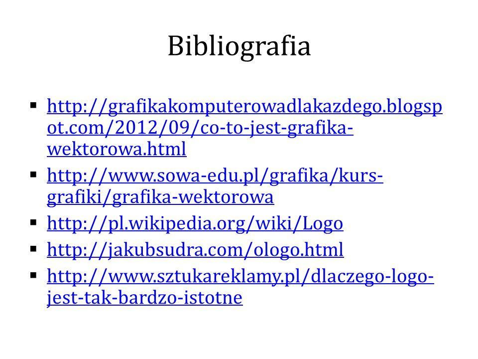 Bibliografia http://grafikakomputerowadlakazdego.blogspot.com/2012/09/co-to-jest-grafika-wektorowa.html.