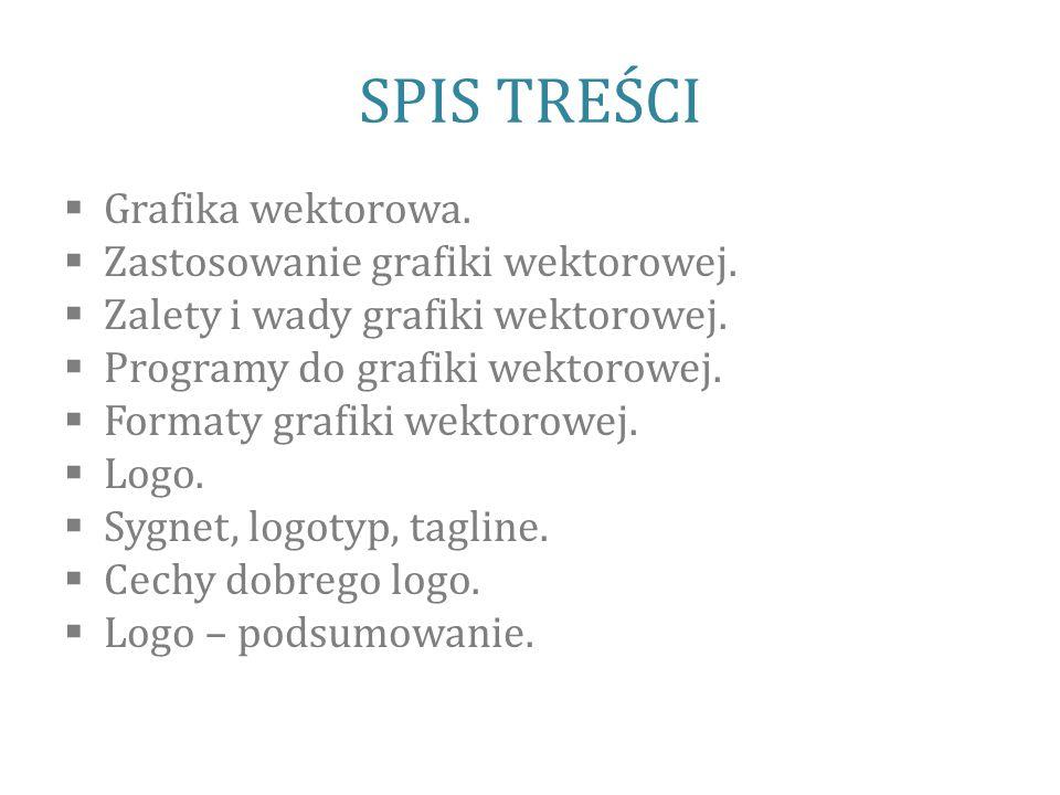 SPIS TREŚCI Grafika wektorowa. Zastosowanie grafiki wektorowej.