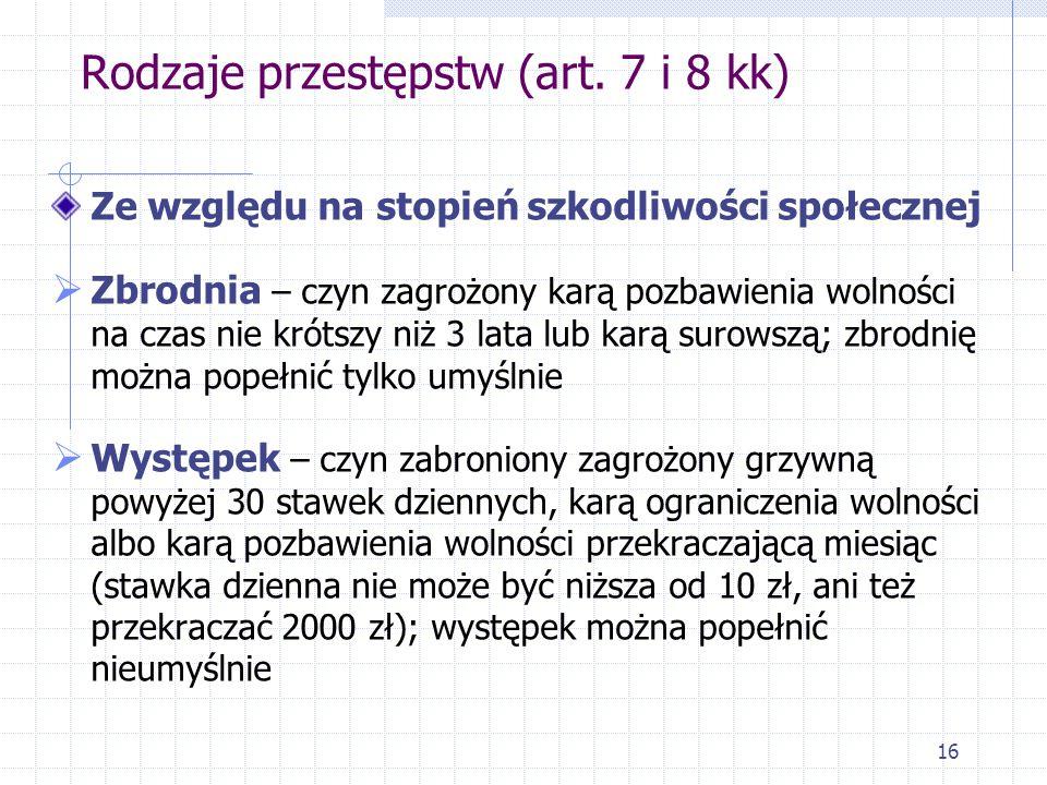 Rodzaje przestępstw (art. 7 i 8 kk)