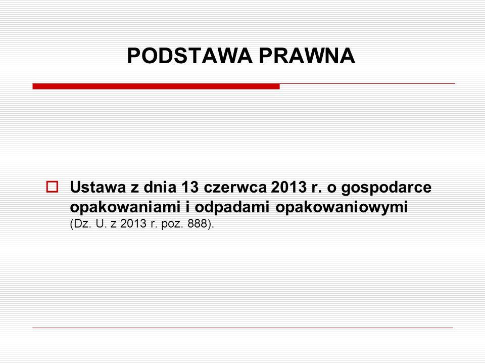 PODSTAWA PRAWNA Ustawa z dnia 13 czerwca 2013 r.