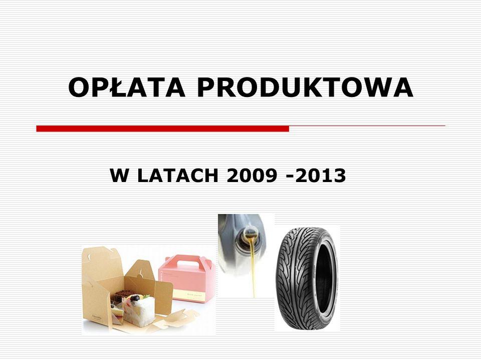 OPŁATA PRODUKTOWA W LATACH 2009 -2013