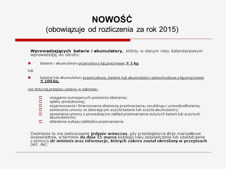 NOWOŚĆ (obowiązuje od rozliczenia za rok 2015)