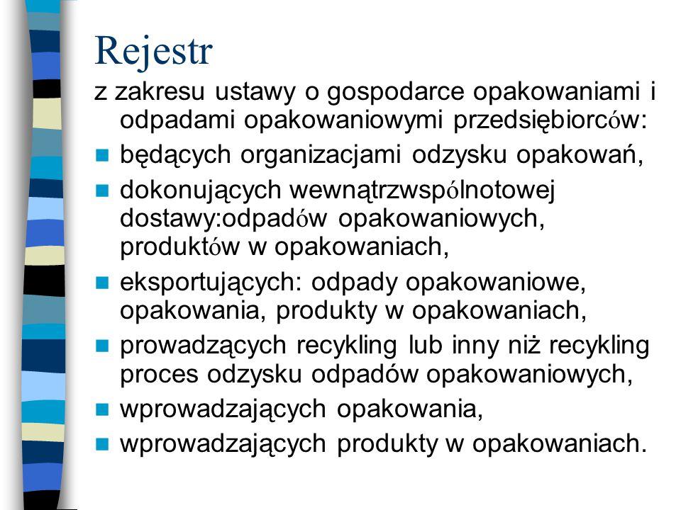 Rejestr z zakresu ustawy o gospodarce opakowaniami i odpadami opakowaniowymi przedsiębiorców: będących organizacjami odzysku opakowań,