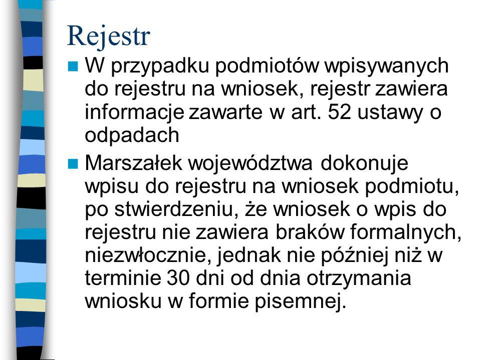 Rejestr W przypadku podmiotów wpisywanych do rejestru na wniosek, rejestr zawiera informacje zawarte w art. 52 ustawy o odpadach.