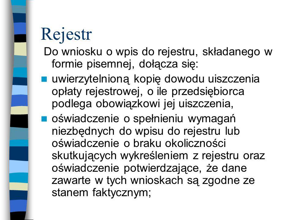 Rejestr Do wniosku o wpis do rejestru, składanego w formie pisemnej, dołącza się: