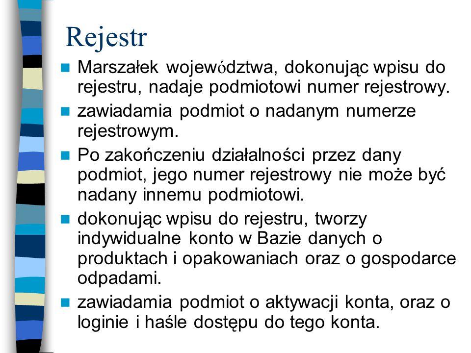 Rejestr Marszałek województwa, dokonując wpisu do rejestru, nadaje podmiotowi numer rejestrowy. zawiadamia podmiot o nadanym numerze rejestrowym.