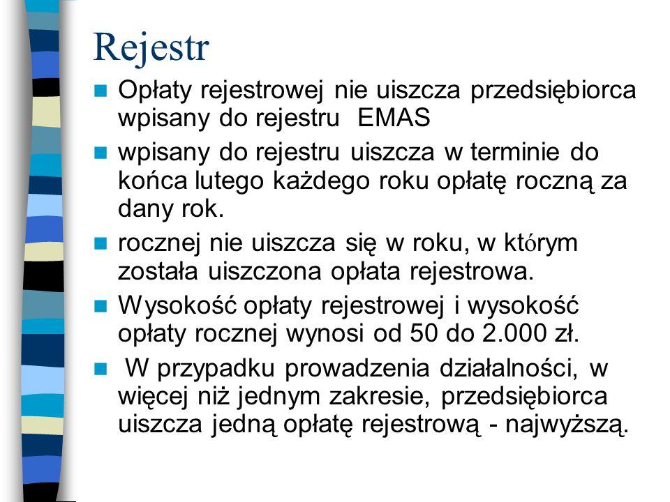 Rejestr Opłaty rejestrowej nie uiszcza przedsiębiorca wpisany do rejestru EMAS.