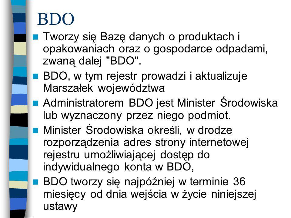 BDO Tworzy się Bazę danych o produktach i opakowaniach oraz o gospodarce odpadami, zwaną dalej BDO .