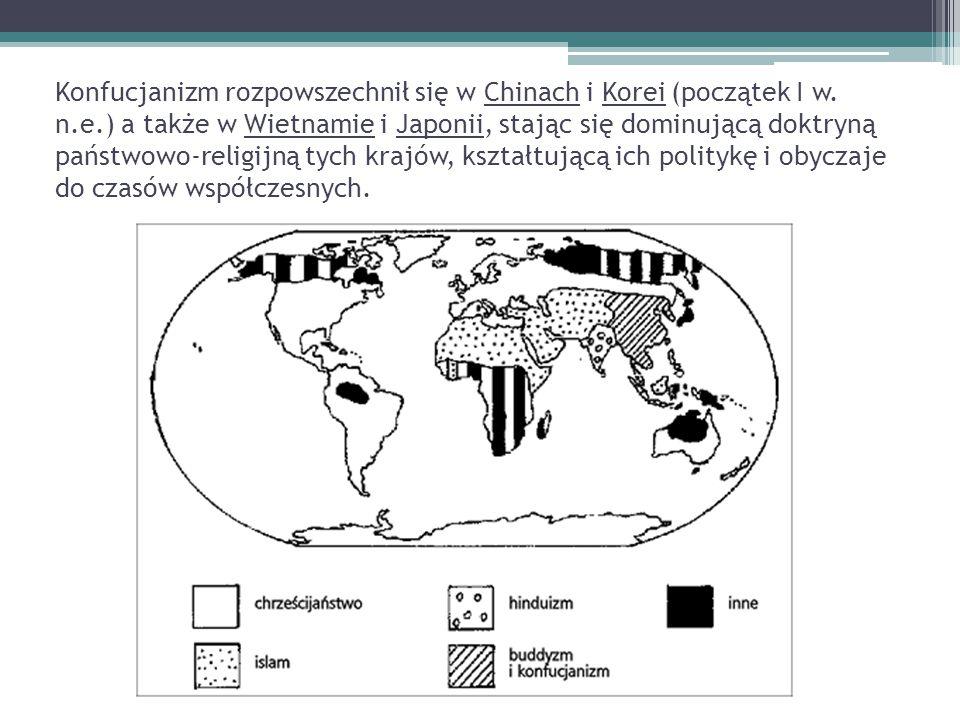Konfucjanizm rozpowszechnił się w Chinach i Korei (początek I w. n. e