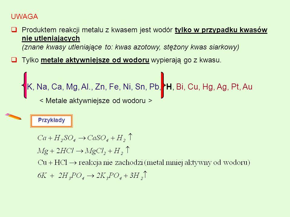< Metale aktywniejsze od wodoru >