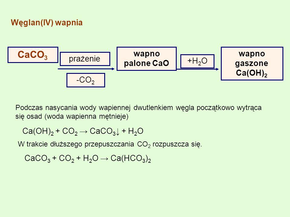 CaCO3 Węglan(IV) wapnia prażenie wapno palone CaO -CO2 +H2O