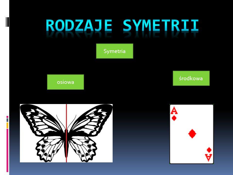 Rodzaje symetrii Symetria środkowa osiowa