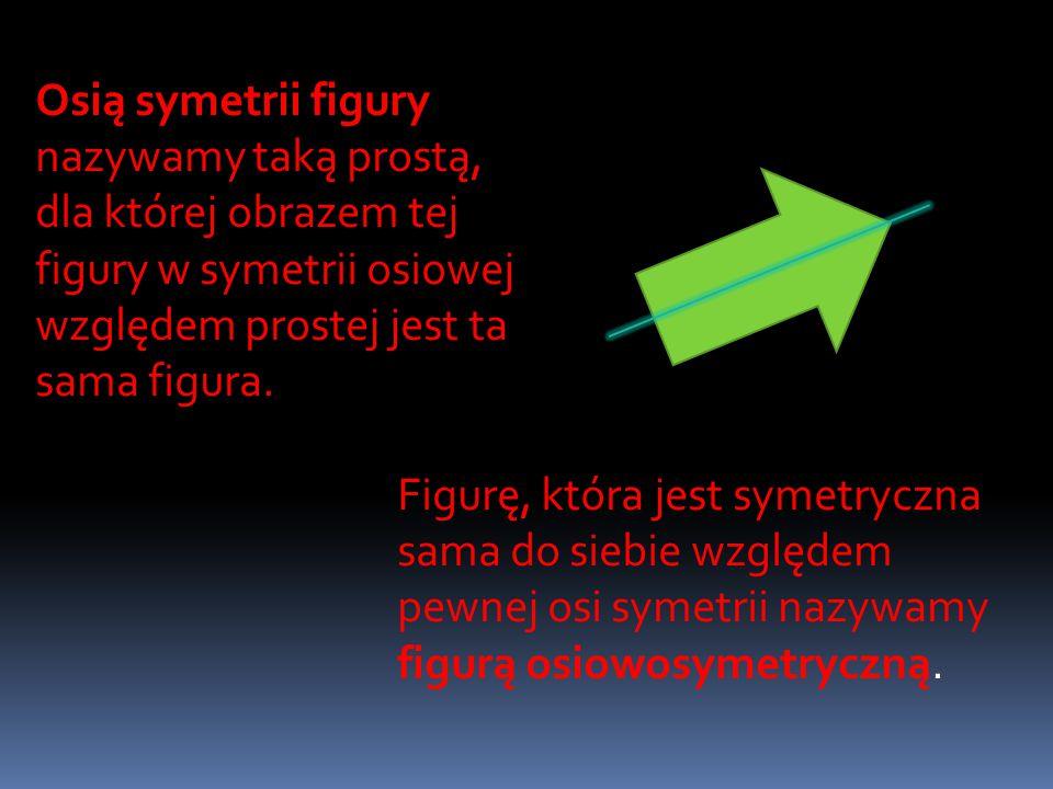 Osią symetrii figury nazywamy taką prostą, dla której obrazem tej figury w symetrii osiowej względem prostej jest ta sama figura.