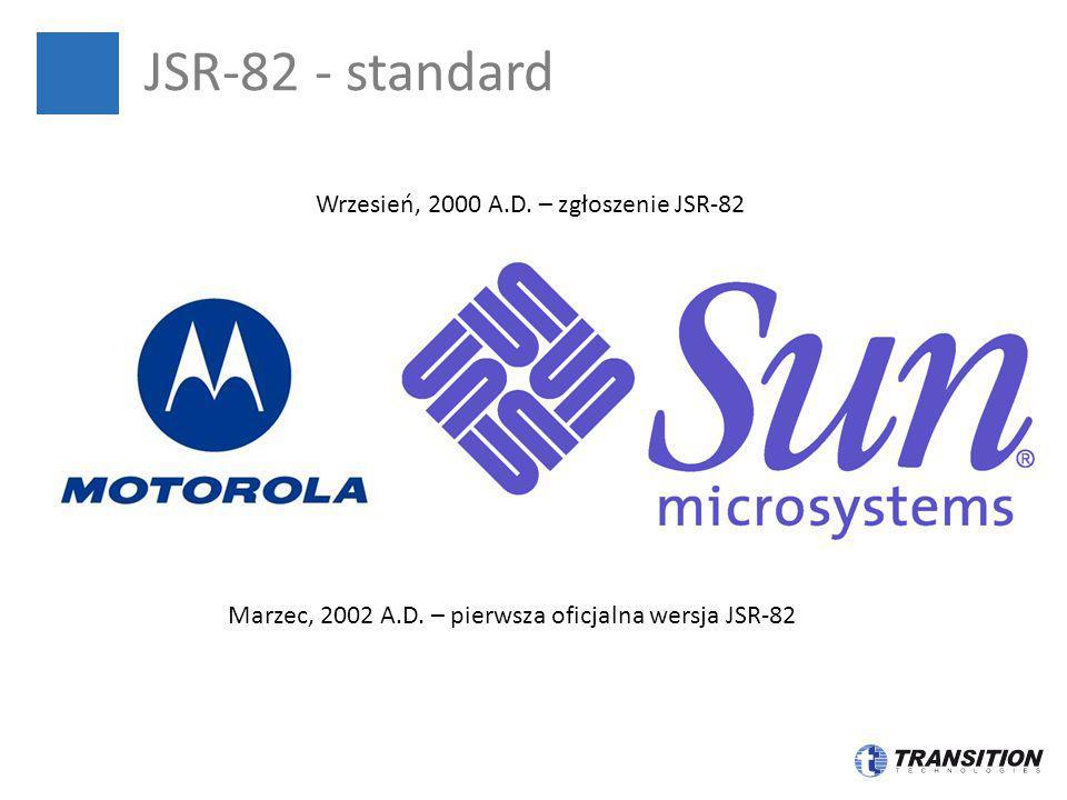 JSR-82 - standard Wrzesień, 2000 A.D. – zgłoszenie JSR-82