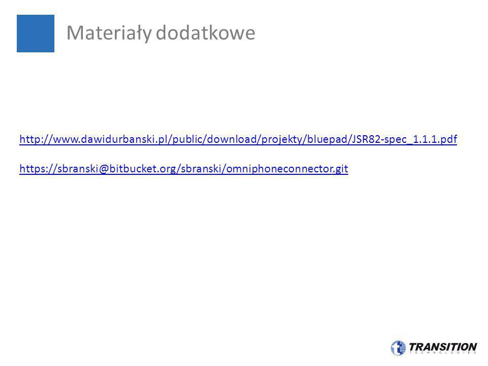 Materiały dodatkowe http://www.dawidurbanski.pl/public/download/projekty/bluepad/JSR82-spec_1.1.1.pdf.
