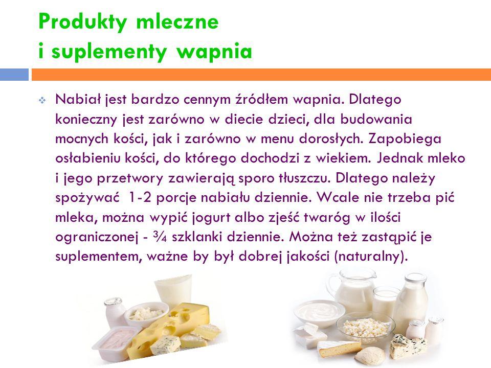 Produkty mleczne i suplementy wapnia