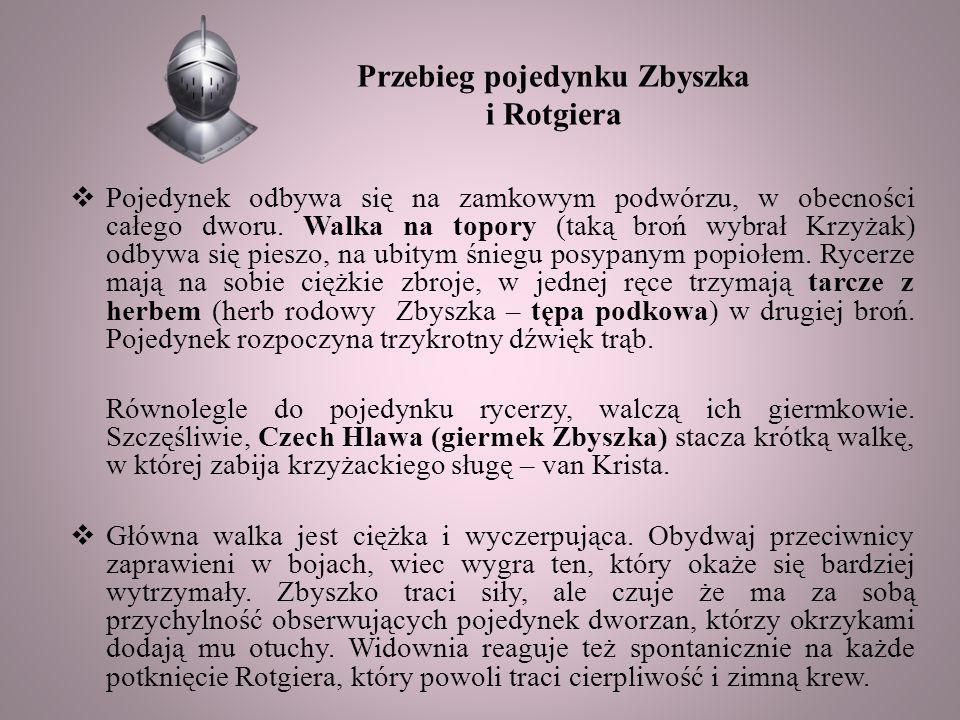 Przebieg pojedynku Zbyszka i Rotgiera