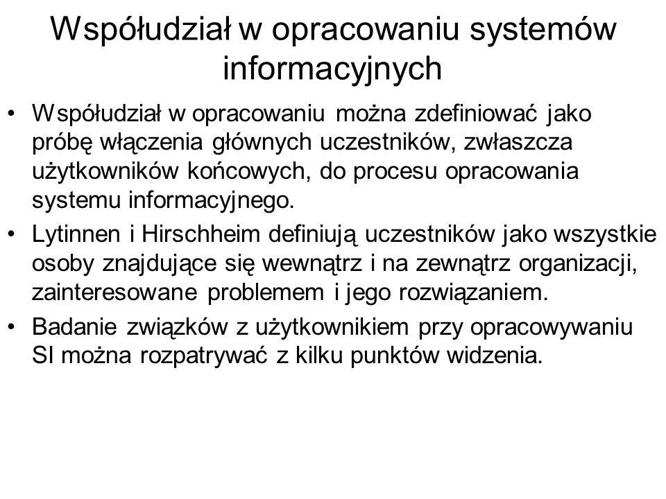 Współudział w opracowaniu systemów informacyjnych
