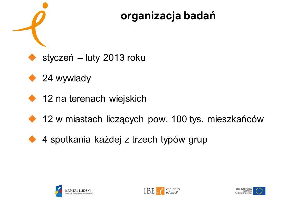 organizacja badań styczeń – luty 2013 roku 24 wywiady