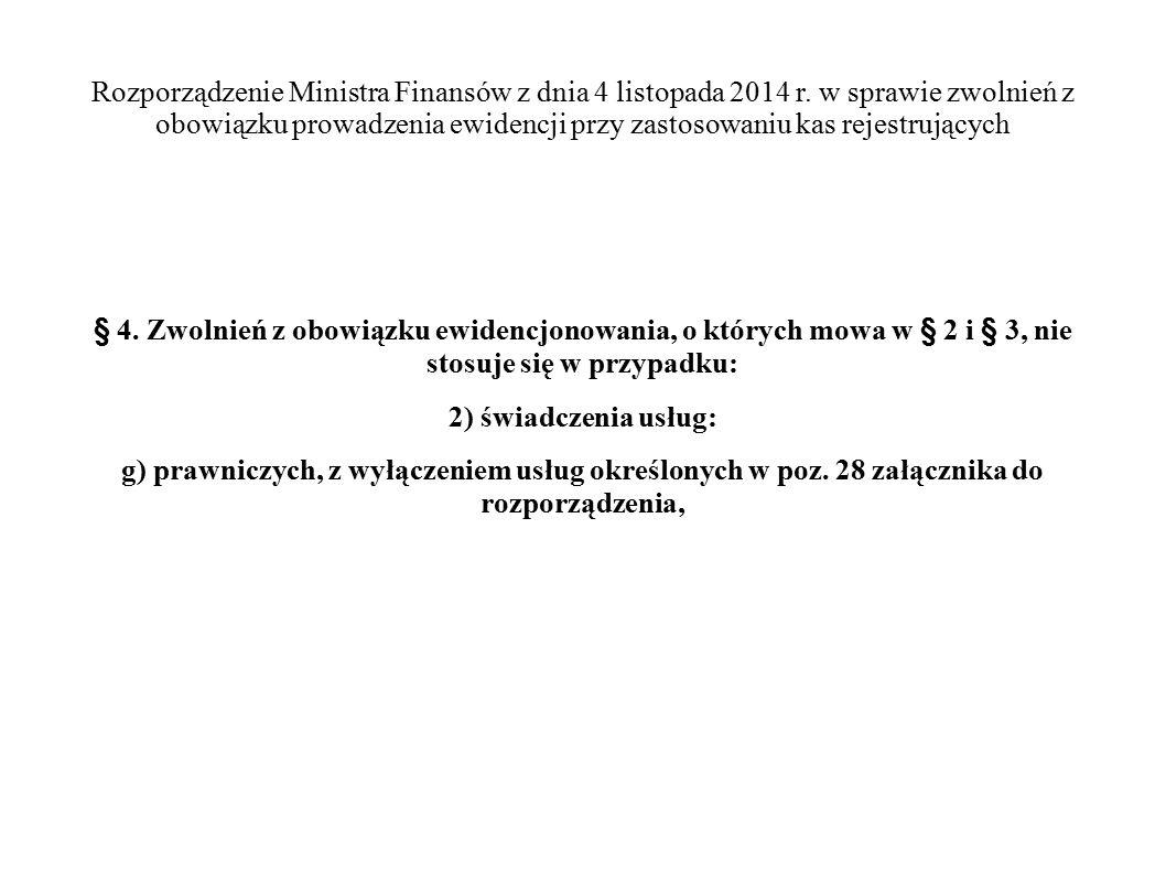 Rozporządzenie Ministra Finansów z dnia 4 listopada 2014 r