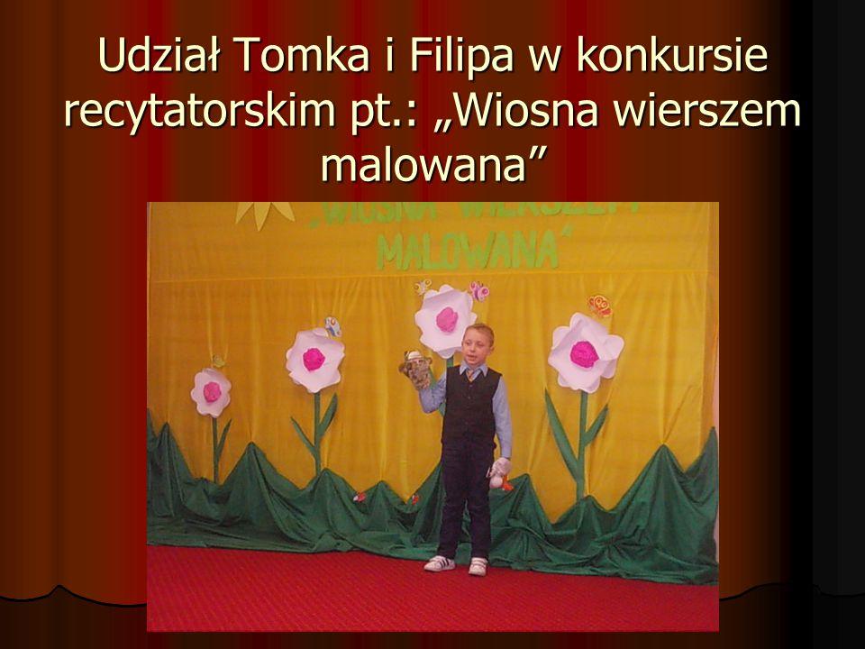 Udział Tomka i Filipa w konkursie recytatorskim pt