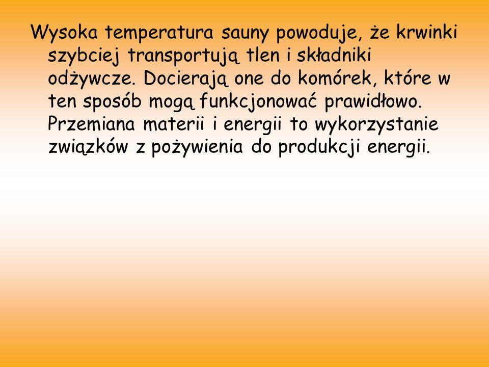 Wysoka temperatura sauny powoduje, że krwinki szybciej transportują tlen i składniki odżywcze.