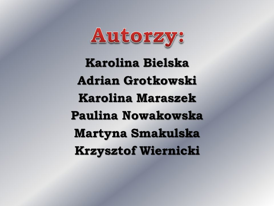 Autorzy: Karolina Bielska Adrian Grotkowski Karolina Maraszek