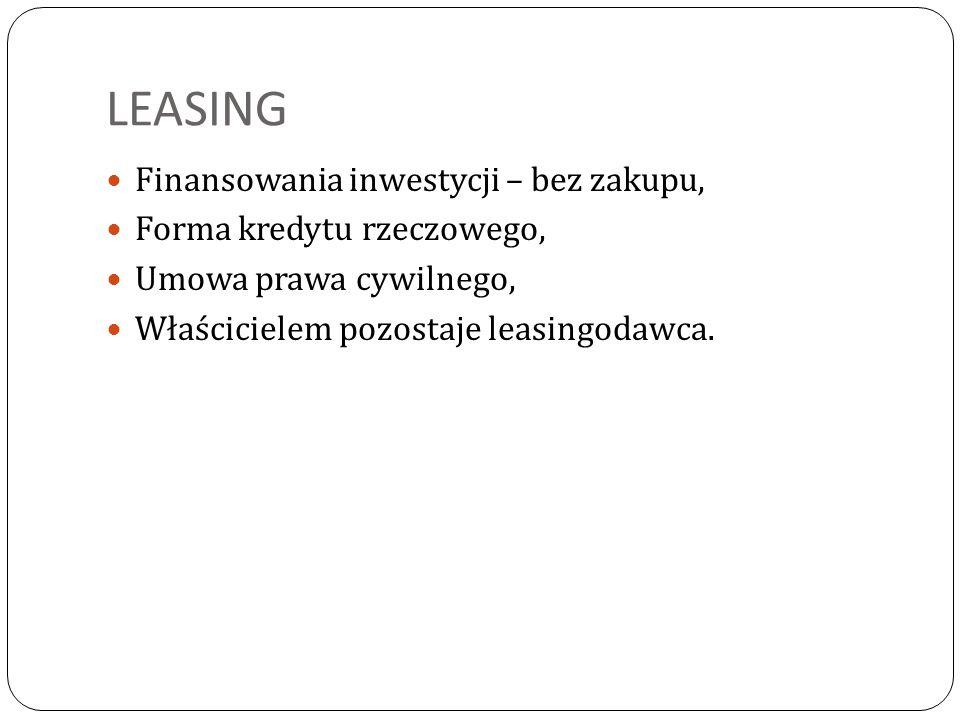 LEASING Finansowania inwestycji – bez zakupu,