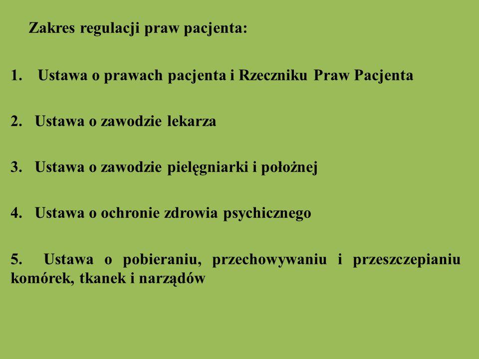 Zakres regulacji praw pacjenta: