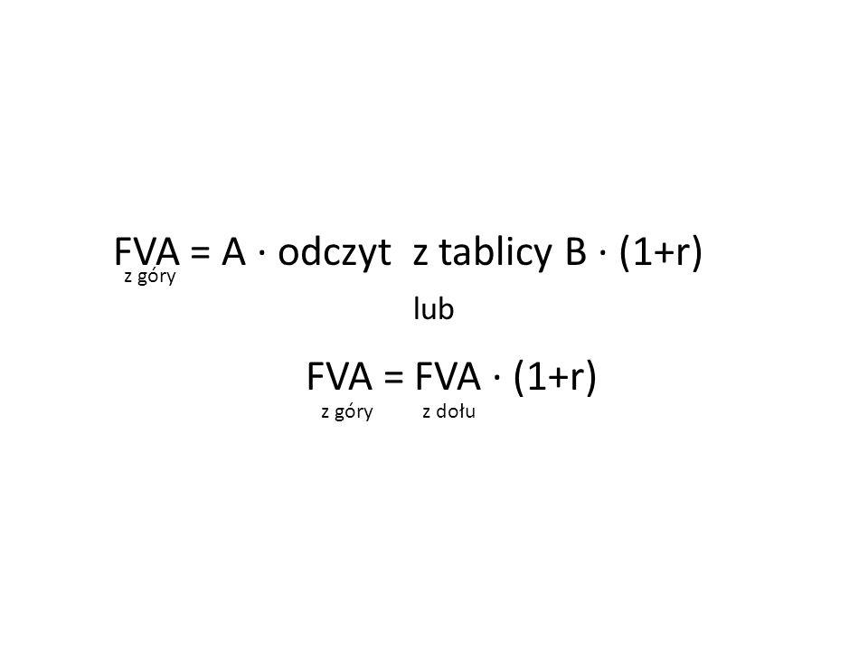 FVA = A ∙ odczyt z tablicy B ∙ (1+r) FVA = FVA ∙ (1+r)