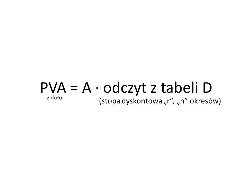 PVA = A ∙ odczyt z tabeli D