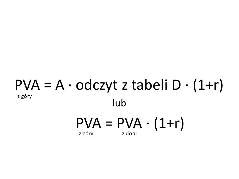 PVA = A ∙ odczyt z tabeli D ∙ (1+r) PVA = PVA ∙ (1+r)
