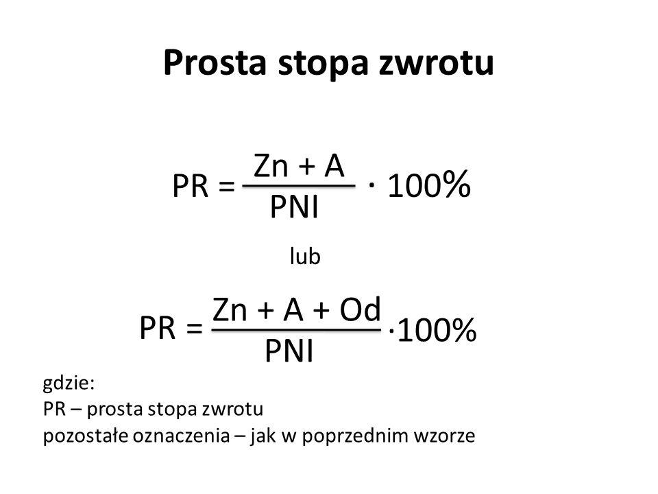 ∙ 100% Prosta stopa zwrotu PR = Zn + A PNI Zn + A + Od ∙100% PNI lub