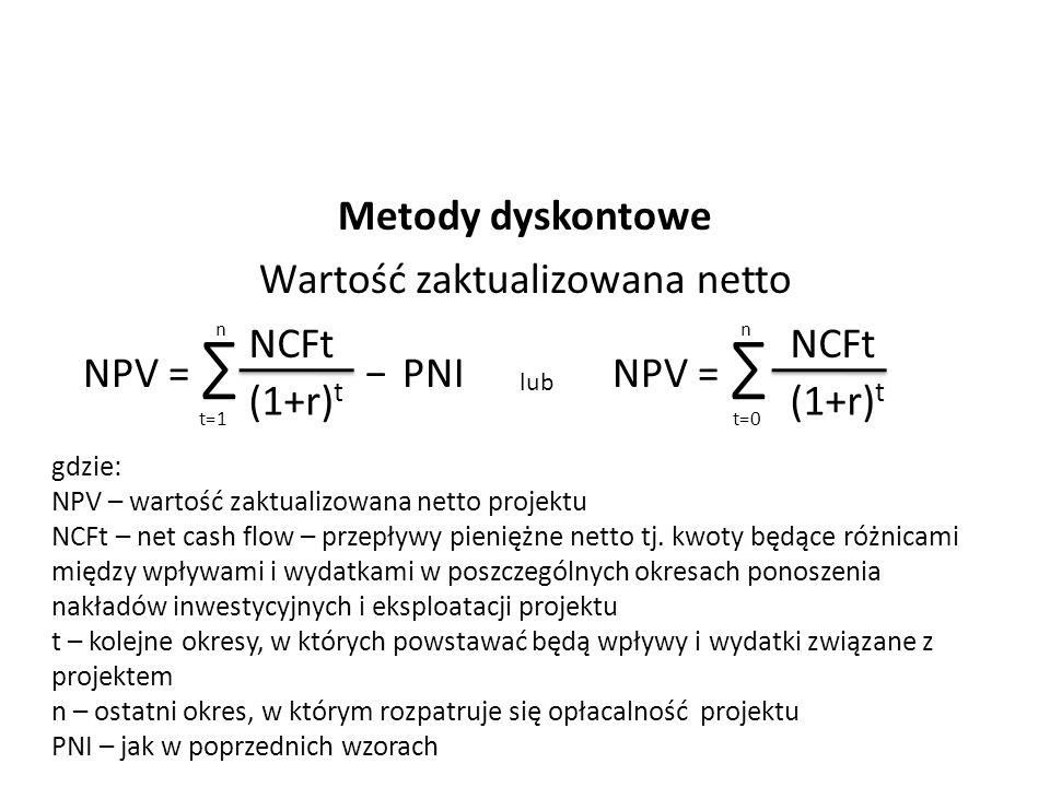 Metody dyskontowe Wartość zaktualizowana netto NPV = ∑ − PNI NPV = ∑